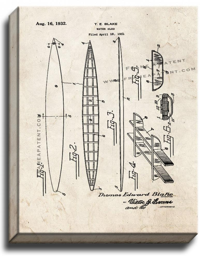 Primary image for Water Sled Patent Print Old Look on Canvas