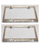 2X Mercedes Incursive Laser Stainless Steel License Plate Frame Rust Free W/Caps - $23.75