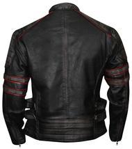 Distressed Black Retro Cafe Racer Slimfit Vintage Biker Leather Jacket image 3