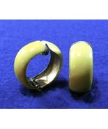 Vintage Earrings - Yellow Enamel Hoops - Mod 1960's - 70's Design - Clip-On - $7.50