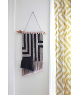 Geometric Macrame Wall Hanging in Dark Grey and Tan Cotton String - $55.00