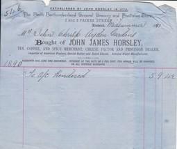 John James Horsley Alnwick 1890 Provision Dealer A/c Rendered Receipt Re... - $7.55
