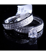 Ladies 14K White Gold Fn Lab Diamond Round Solitaire Enagement Ring Band - $49.99