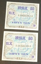 Lot of 2 Japanese Military Currency Fifty Sen Series 100 Military Procla... - $9.89