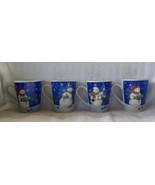VINTAGE CERAMIC STUDIO 33 CHRISTMAS MUGS SNOWMAN CUPS BLUE TRIM  - SET OF 4 - $29.99