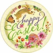 "Floral Happy Easter Bunny 8 Ct 9"" Luncheon Plates Butterfly Flowers - $4.35"