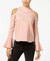 American Rag Juniors Mock Neck Cold Shoulder Crepe Top Pale Mauve XXL $3... - $18.99