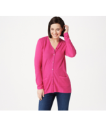 Joan Rivers Cardigan Grosgrain Ribbon Pink Punch,Size1X, NEW A347327 - $19.79