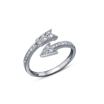 925 Sterling Silver White Fn. Arrow Cubic Zirconia Jewelry Adjustable Toe Ring - $15.99