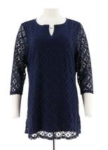 Isaac Mizrahi Feminine Flattering 3/4 Slv Mix Lace Tunic Dark Navy S NEW A274534 - $42.55