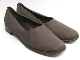 Stuart Weitzman Womens Brown Loafers Size 11 B Leather soles. Fabric Cov... - $24.75