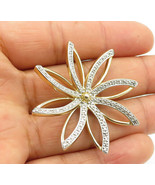 925 Sterling Silver - Genuine Diamond Accent Gold Plated Floral Pendant ... - $29.19
