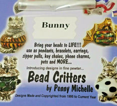 VINTAGE BUNNY BEAD CRITTERS BEAD WRAP BY PENNY MICHELLE 1995 GOLDTONE image 4