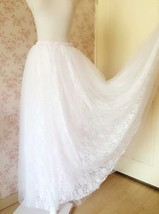 White Tulle Lace Maxi Long Skirt White Wedding Tulle Skirt 4XL Plus Size image 3