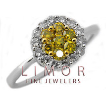 1.44CT Natural Yellow Canary Diamond Flower Ring 14K White Gold W/ APPRAISAL - £893.79 GBP