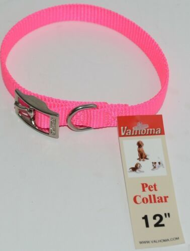 Valhoma 720 12 HP Dog Collar Hot Pink Single Layer Nylon 12 inches Package 1