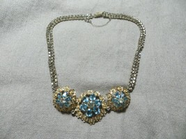 "Art Deco Designer Vitoge Rhinestones Sterling Choker necklace 16"" Signed Rare!  - $119.99"