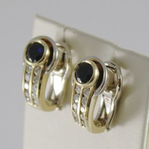 18K YELLOW WHITE GOLD CLIPS EARRINGS WITH SAPPHIRES AND DIAMONDS MADE IN ITALY image 2