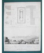 ARCHITECTURE PRINT 1850 - GREECE Temple of Jupiter Olympus at Selinus  - $8.99