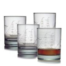 Susquehanna Glass Clipper Ship Sand Etched/Hand Cut Rocks Glasses, Set o... - $57.31