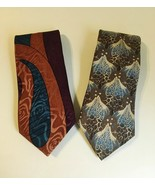 Neck Ties Concerto Design Studios Soho NY Abstract Retro Blue Green Brow... - $30.00