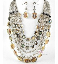 Glamorous Heavy Taupe Long Glass Bib Radiant Crystal Multi Strands Necklace Set - $97.50