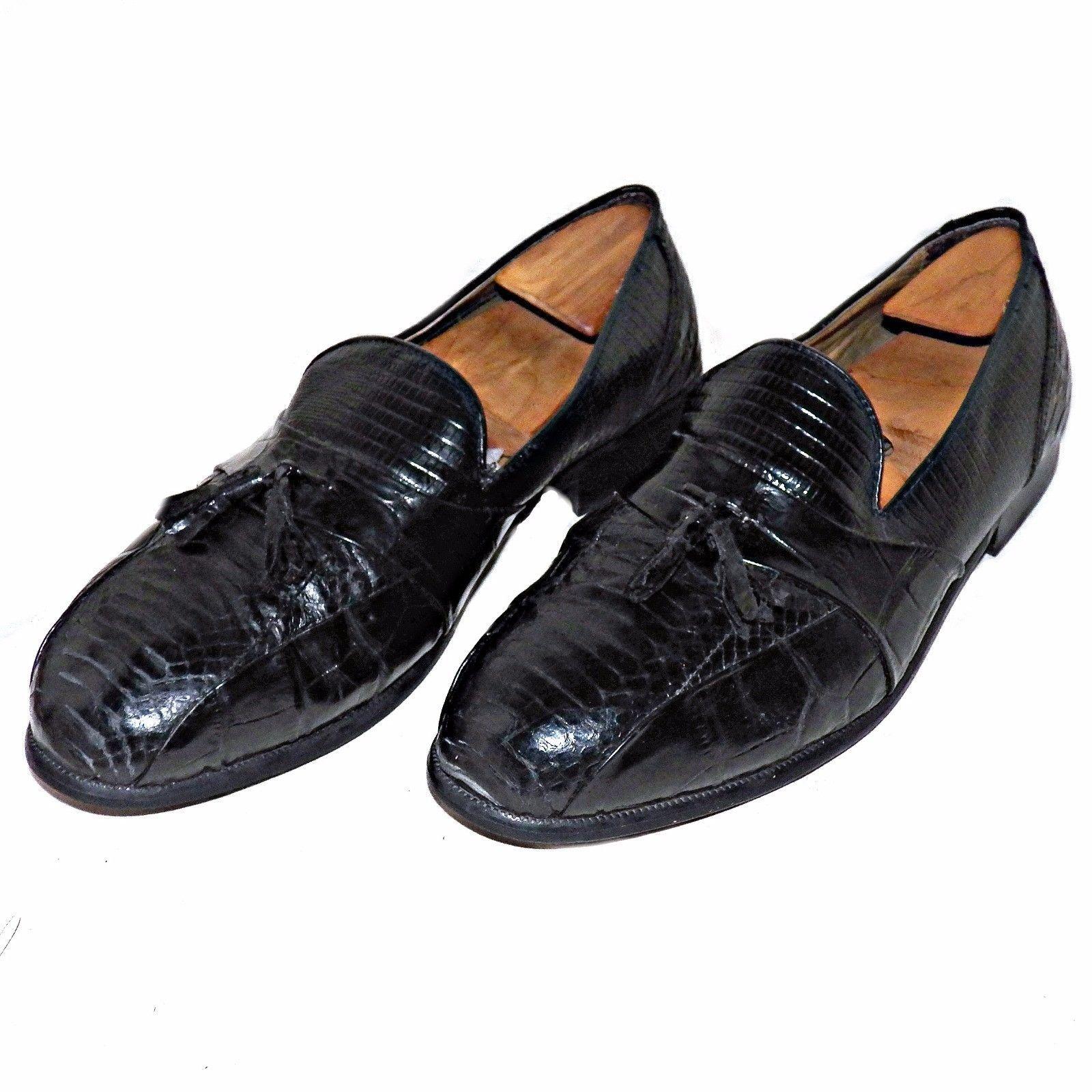 Stacy Adams Men Cognac Alberto Leather Snakeskin Tassle Wide Width Loafer Shoe