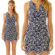 $298 Lilly Pulitzer Augusta True Navy Metallic Sanddollar Eyelet Shift D... - $191.25