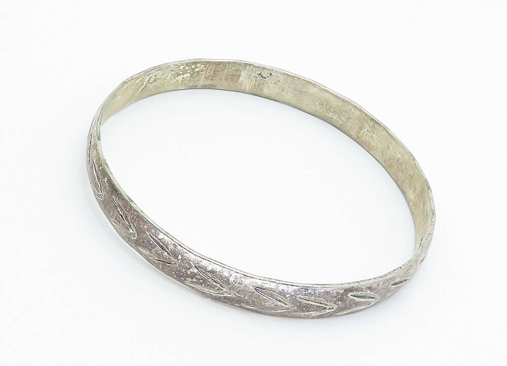 MEXICO 925 Silver - Vintage Etched Pattern Rustic Bangle Bracelet - B5910