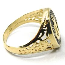 18K YELLOW GOLD BAND MAN RING, NAUTICAL ANCHOR, FINELY WORKED, BLACK ENAMEL image 4