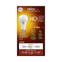 NEW GE Lighting Relax HD LED 3-Way Light Bulb, White, Dimmable 68415 - $14.41