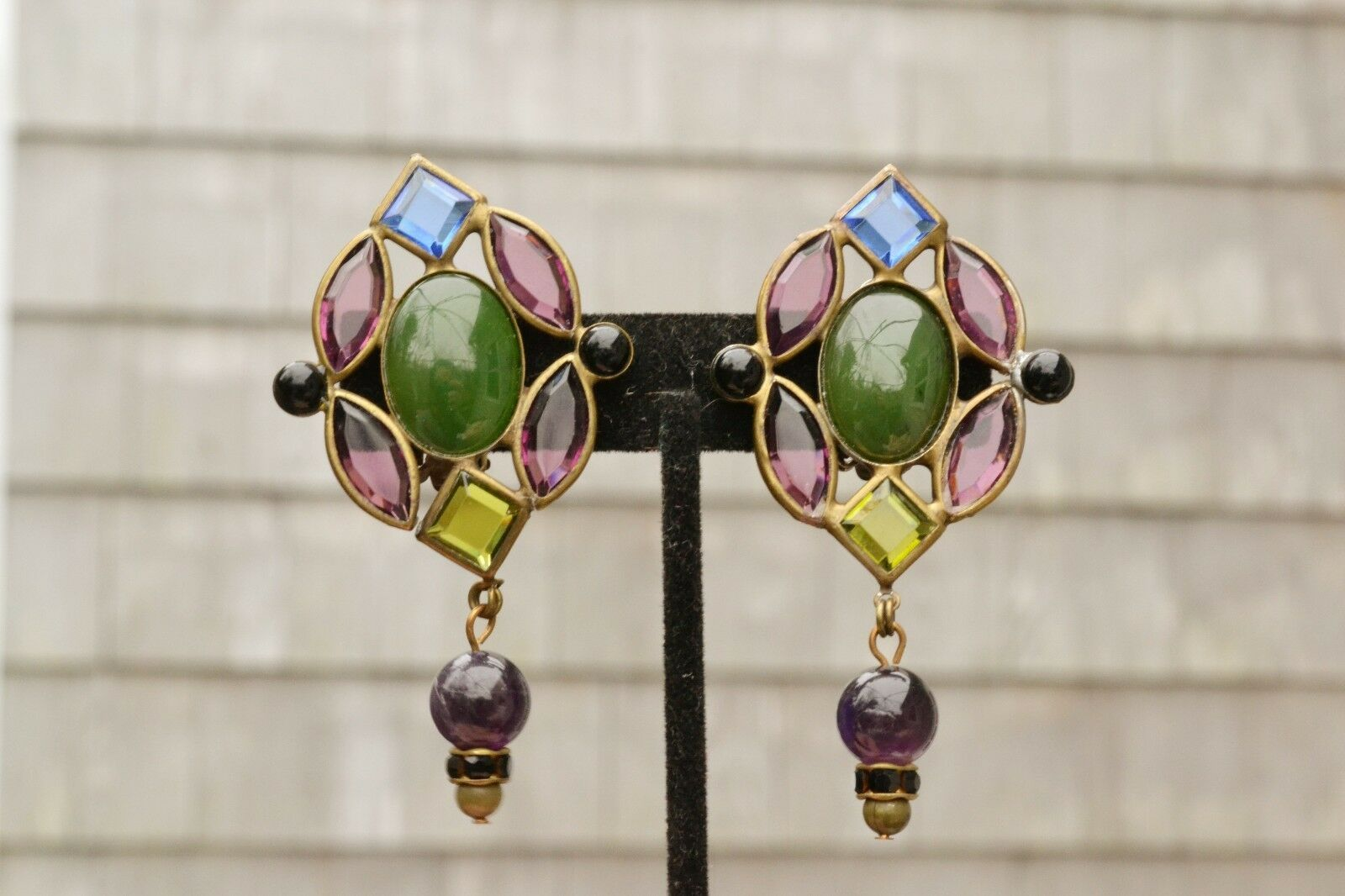 Vintage Sorelli clip earrings runway stained glass style bezel set open back big