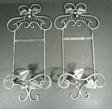 Pair of Metal Grape Vine Plate / Photo Rack Hangers Wall Decor  - $19.99