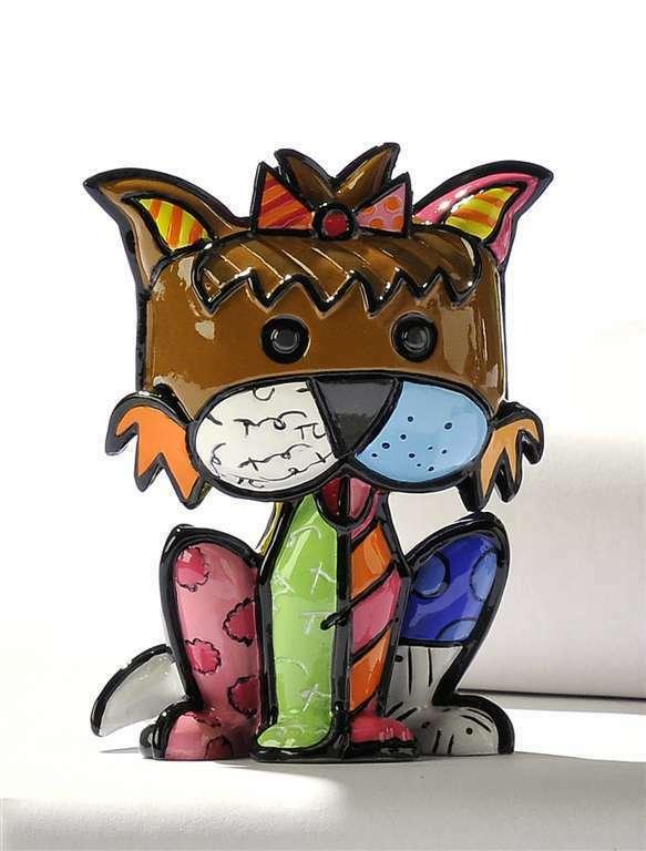 Romero Britto Mini Terrier Dog 3 Dimensional Precious #331385 Retired Rare