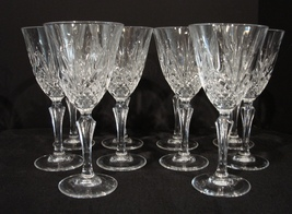 Cristal de Flandre Set of 12 Crystal Wine Glasses Salzburg Pattern  7.5 ... - $48.99