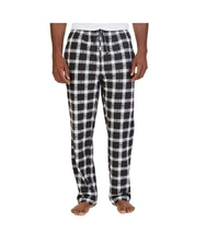 $40 Nautica Mens Plaid Sueded Fleece Pajama Lounge Pants, Black, Size XL.