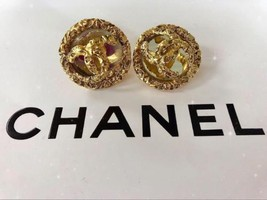 Authentic CHANEL Vintage Gold Logo Coco Clip Earrings HCE162 - $406.30