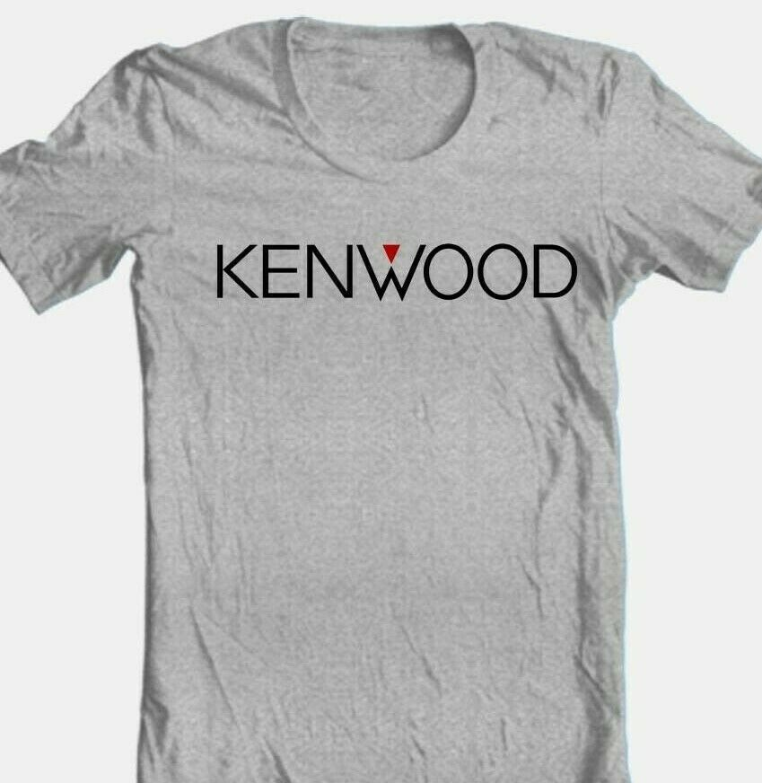 Kenwood T-shirt  Logo stereo speaker cotton blend graphic printed grey tee