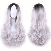 "Pengruizhi 26"" Long Curly Ombre Grey Wig for Women Cosplay Party Wigs wi... - $19.48"