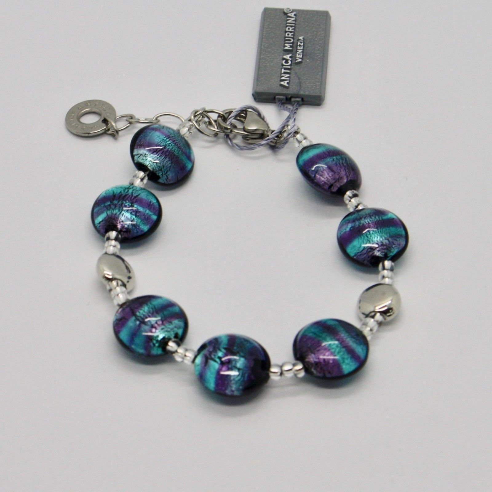 ANTICA MURRINA VENEZIA BRACELET WITH MURANO GLASS BLUE SILVER PURPLE BR297A27