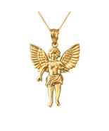 14K Yellow Gold Cherub Guardian Angel Midsize Pendant Necklace - $259.99+