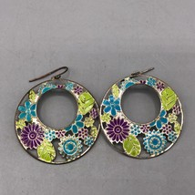 Colorful Flower Pierced Earrings - $12.86