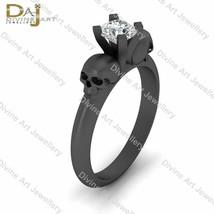 Solitaire Diamond Gothic Skull Engagement Ring Solid 10k Gold Skull Wedd... - £386.57 GBP