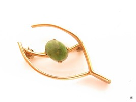 Vintage Signed Bal Ron 12K GF Gold Filled Lucky Wishbone Jade Pin Brooch... - $32.62
