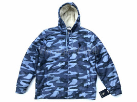 US POLO ASSN USPA Mens XL Blue Army Camo Hooded Sherpa Logo Zip Jacket M... - $62.99