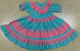 Native American Little Girl Teal Green Pink Traditional Dress Choctaw Ch... - $59.99