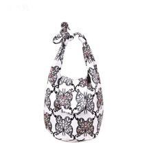 Butterfly print  cotton cloth Sequins handmade handbag denim bag  - $17.00