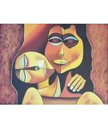 N. JESUS PAINTING Eduardo Kingman & Oswaldo Guayasamin Cubist Contempora... - $490.36