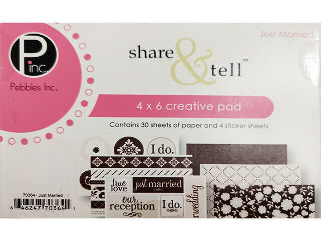 """Pebbles Just Married 4x6"""" Creative Pad, 30 Sheets of Paper, 4 Sticker Sheets"""