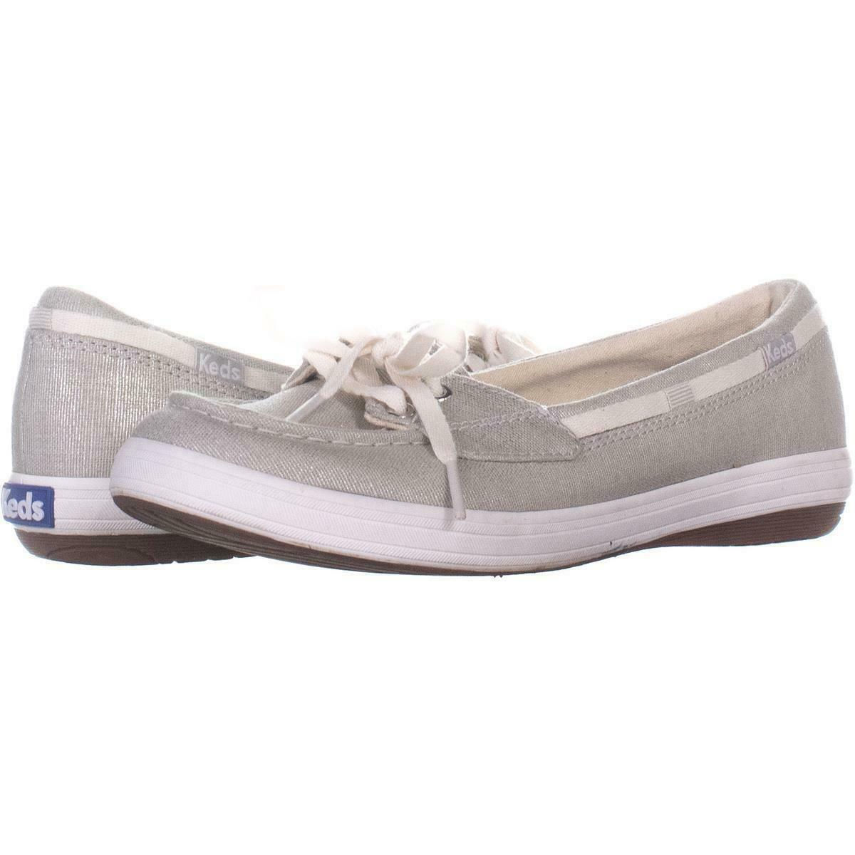 Keds Glimmer Lace Up Boat Shoes 553, Silver, 6.5 US / 37 EU